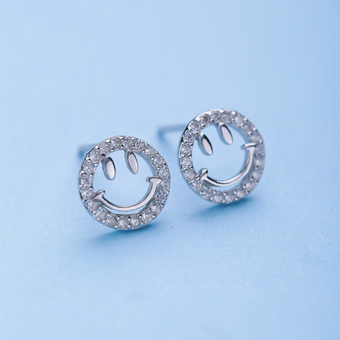 Ella simple smile face sterling silver stud earrings