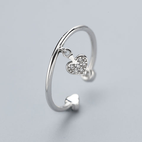 Ella Fashionable Simple Heart Elegant Sterling Silver Adjustable Ring