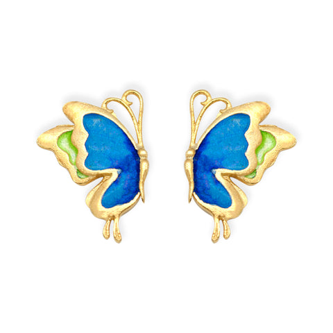 Ella blue butterfly vogue enamel sterling silver stud earrings
