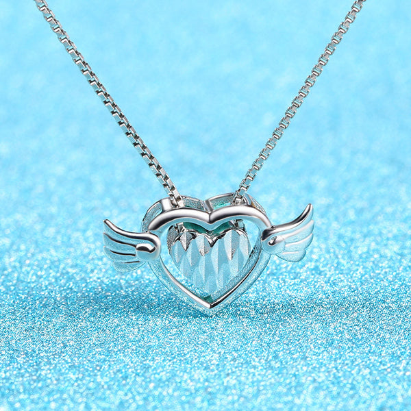Ella Angel Wings Two Hollow Heart Sterling Silver Pendant