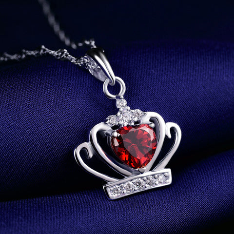 Ella Sweet Crown Heart Red CZ Sterling Silver Pendant