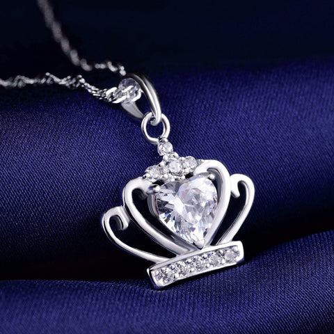 Ella Sweet Crown Heart CZ White Sterling Silver Pendant