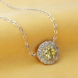 Ella yellow round circle CZ sterling silver necklace