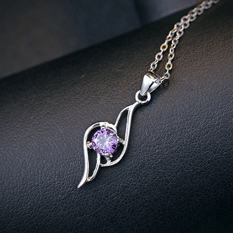 Ella Trendy Curve Purple Sterling Silver Necklace