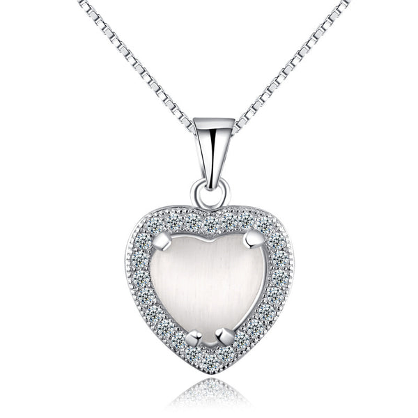Ella heart shaped white crystal sterling silver micro setting pendant