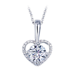 Ella Heart-Shaped Micro Setting White CZ Sterling Silver Pendant