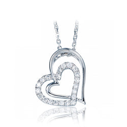 Ella Simple Double Heart-Shaped Micro Setting White Sterling Silver Pendant
