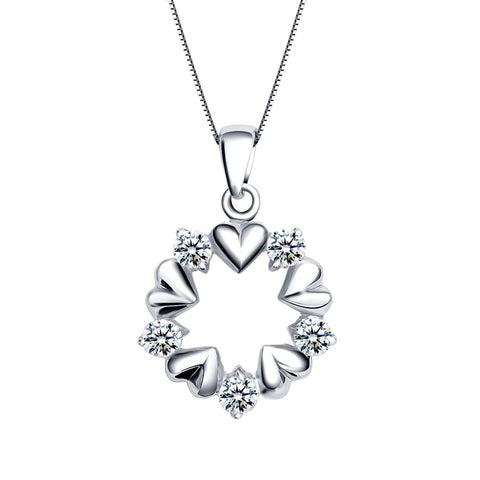 Ella Trendy Hearts Garland  Sterling Silver Pendant For Women