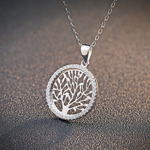 Ella tree of life sterling silver circle pendant