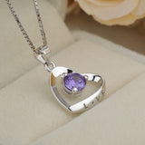 Ella Romantic Heart Love Purple Sterling Silver  Necklace