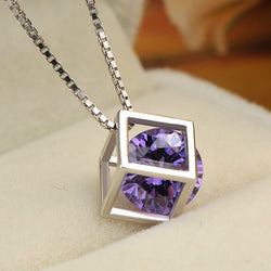 Ella Happy Cube Purple Sterling Silver Magic  Necklace