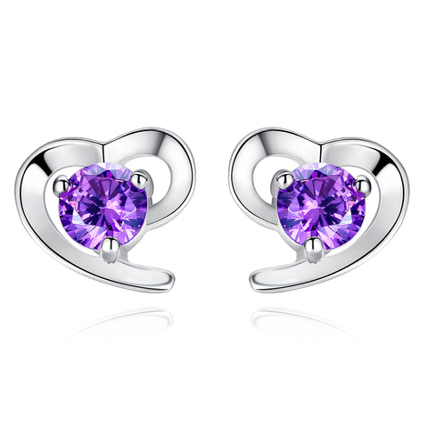 Ella Purple Heart Sterling Silver CZ Stud Earrings