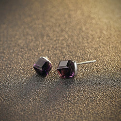 Ella Dark Purple Cube Sterling Silver Stud Earrings