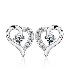 Ella Heart White Sterling Silver CZ Stud Earrings