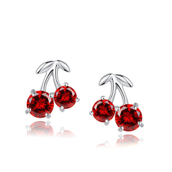 Ella Cherry Sterling Silver Red Stud Earrings