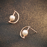 Ella D-shape White Shell Pearl Sterling Silver Stud Earrings