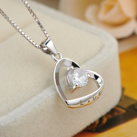Ella Romantic Heart Love White Sterling Silver  Necklace