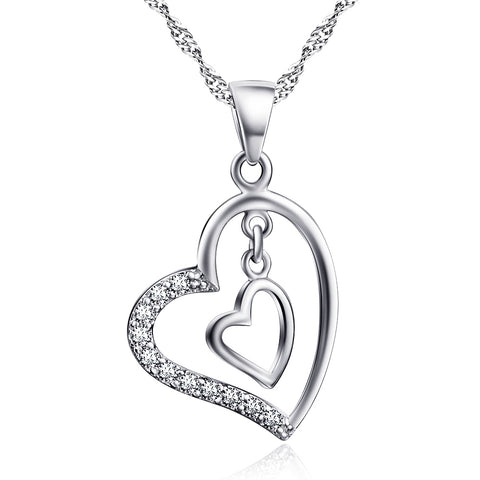 Ella White Double Hearts Sterling Silver Love Necklace