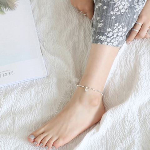 Ella silver bead ball sterling silver foot anklet