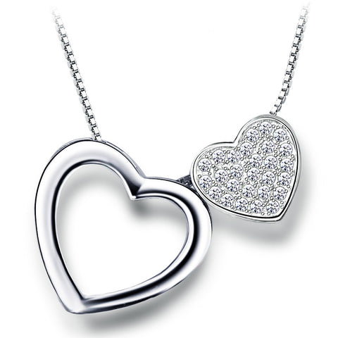 Ella love double hearts sterling silver micro setting rotated pendant