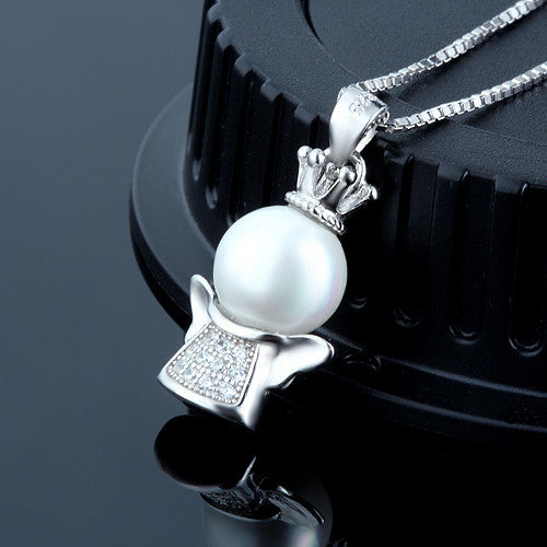 Ella shell pearl lucky angel sterling silver pendant