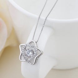 Ella Fashion Star Heart CZ White Sterling Silver Pendant