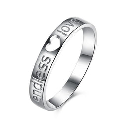 Ella Hollow Heart Endless Love Letters Sterling Silver Ring