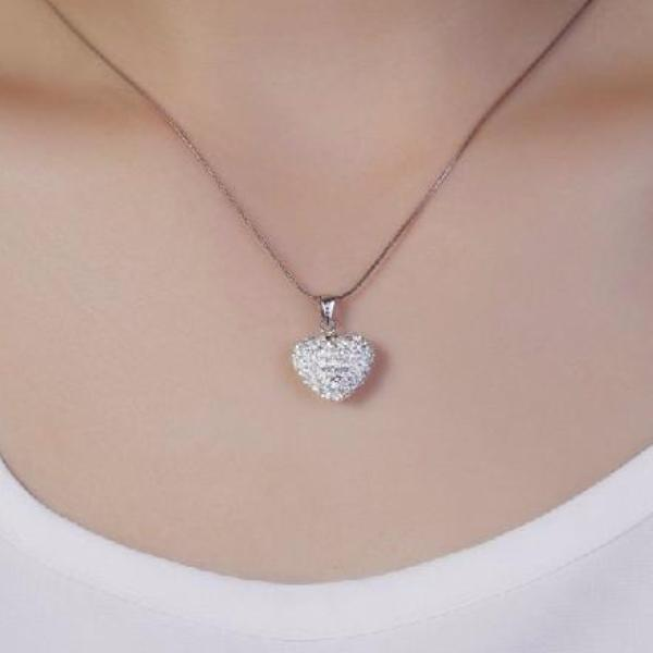 Ella heart CZ sterling silver true love pendant