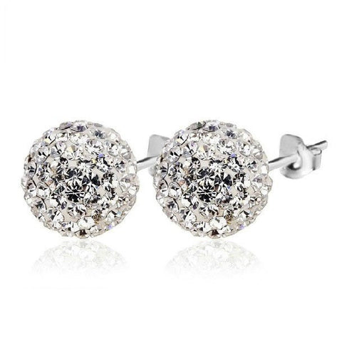 Timeless white round stud earrings in sterling silver
