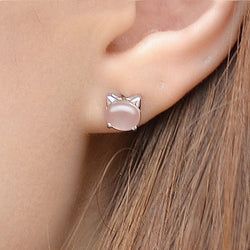 Ella Rose Quartz Kitty White  Sterling Silver Stud Earrings