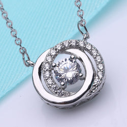 Ella Double Circle Sterling Silver Micro Setting CZ Necklace