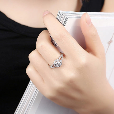 Ella trendy luxury hallow white CZ sterling silver ring