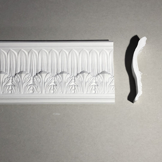 Acanthus and Plain Leaf Plaster Coving Drop 122MM MPC074