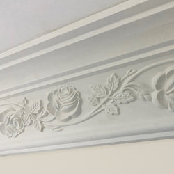 Plaster Coving Wild Rose 120mm Drop MPC044 - PlasterCeilingRoses.com