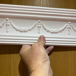 Plaster Coving Georgian Swag and Drop 85mm Drop MPC062 - PlasterCeilingRoses.com