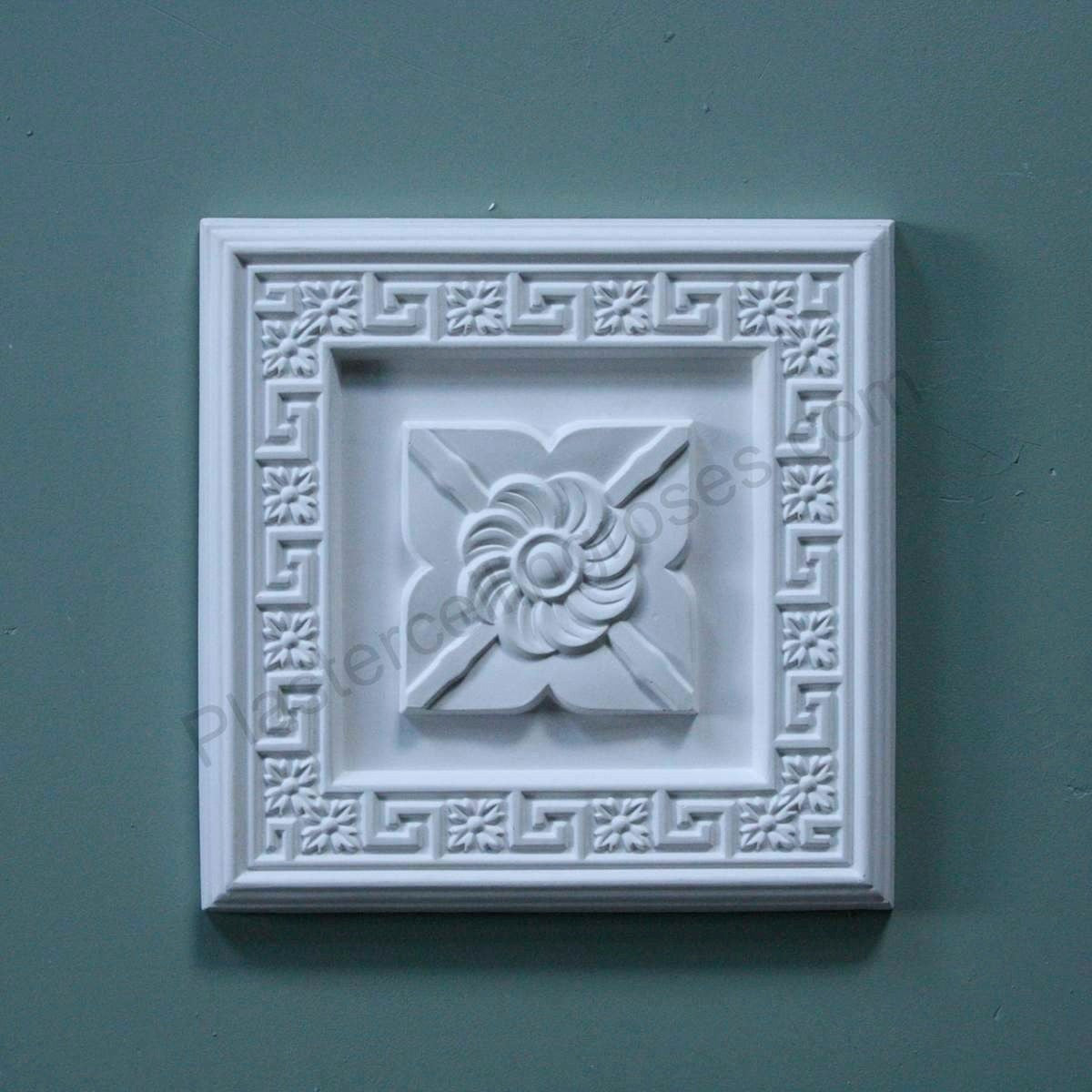 Greek Key Square Plaster Wall Plaque WP006 - PlasterCeilingRoses.com