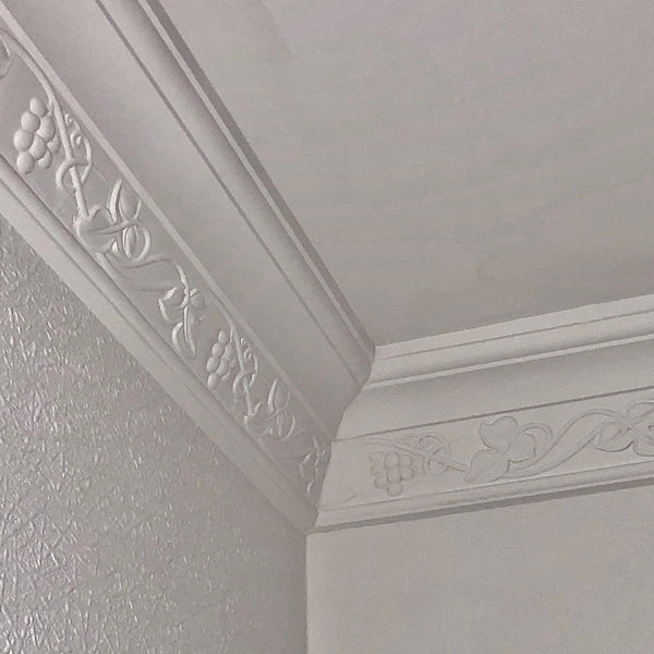 Plaster Coving Running Vine 100mm Drop MPC029 - PlasterCeilingRoses.com