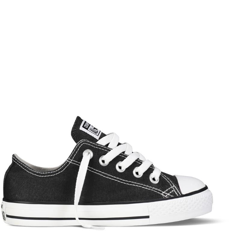 Converse Chuck Taylor All Star Classic Canvas Kid's Lo Top - Black-Mikka Online