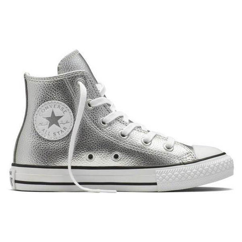 Converse Chuck Taylor All Star Metallic Leather Kids Hi-Top - Pure Silver-Mikka Online
