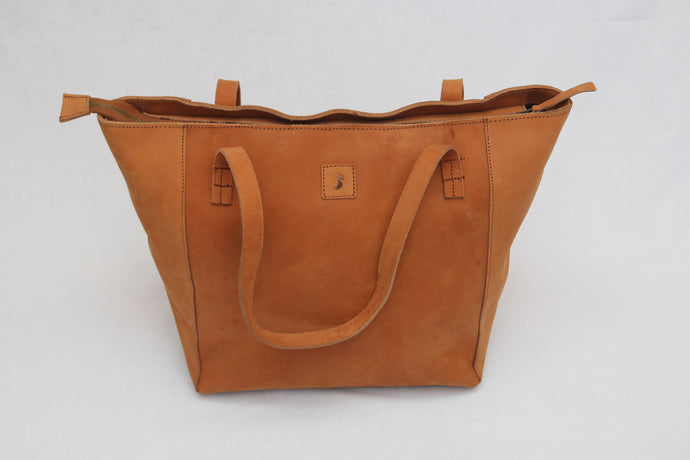 Tuff Caramel Leather Tote