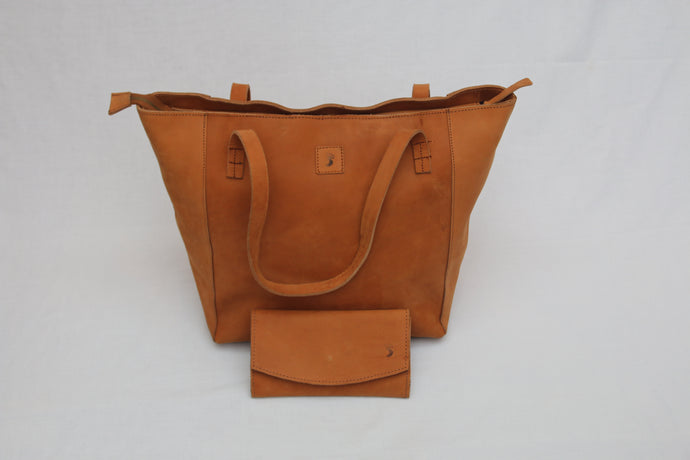 Tuff Caramel Leather Tote & Purse Combo