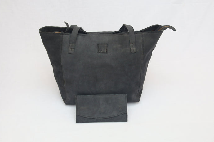 Black Soft Leather Tote & Purse Combo