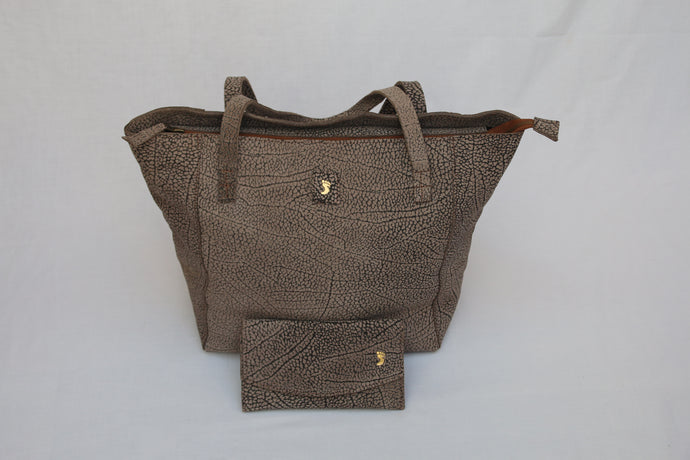 Pebble Print Soft Leather Tote & Purse Combo