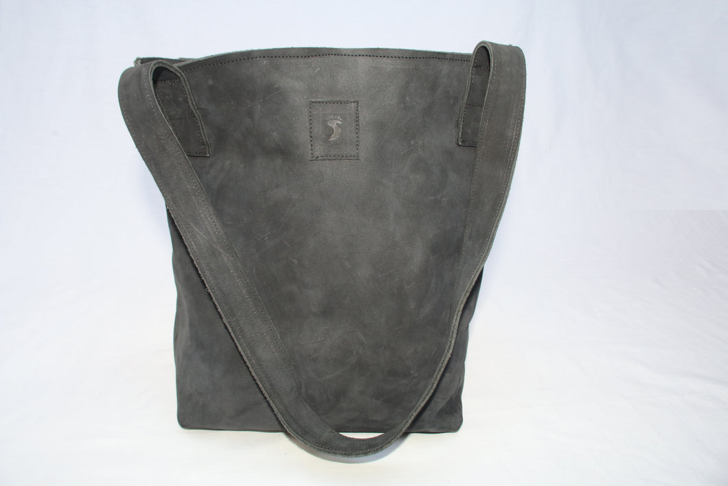Black Soft Leather Bucket Tote