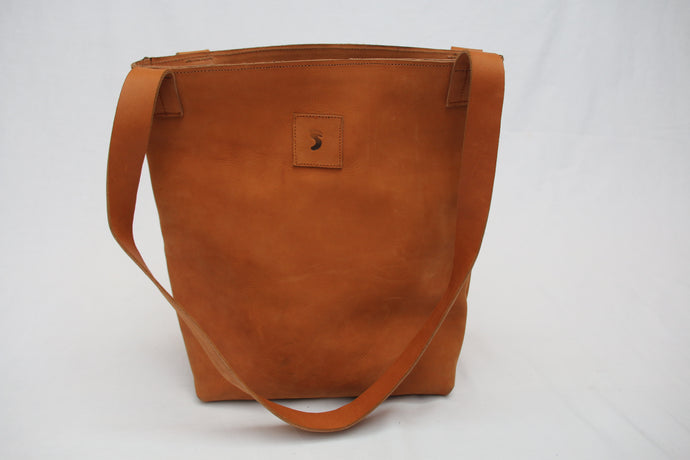 Tuff Caramel Leather Bucket Tote