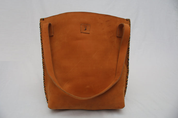 Tuff Caramel Leather Bucket Tote -  Multicoloured Side Stitch