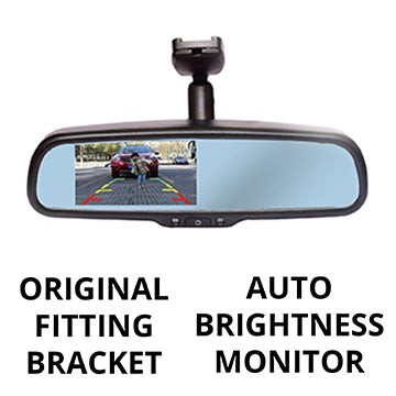 Reverse camera with auto-brightness monitor (in-mirror) RCMAD