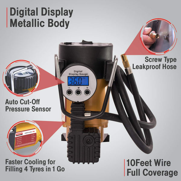 Blackcat Heavy Duty Tyre Inflator Digital Air Pump for Cars & SUVs Hercules Digi