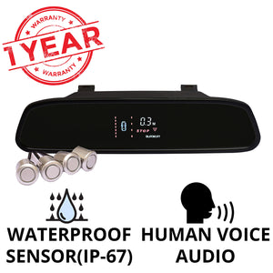 Car Reverse Parking Sensor | VFD Display in Mirror with Human Voice | 4 ultrasonic sensors