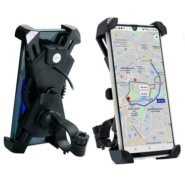 Blackcat Bike Mobile holder with charger for bikes and scooter Spyder v2 (2019) | Fast Charge |with On/Off Switch